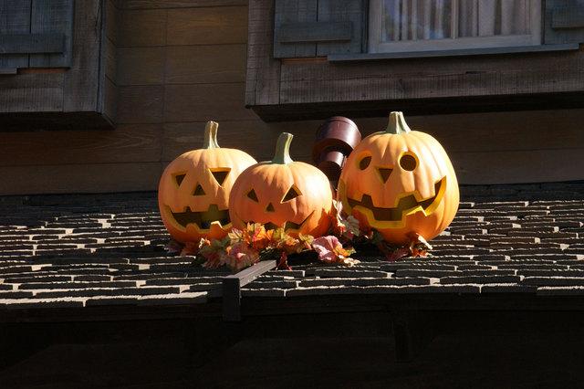 屋根の上のかぼちゃ